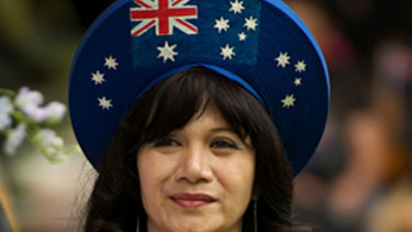 Kim Thien Truong wears an outfit she made  for a citizenship ceremony in Sunshine, Victoria, last year.