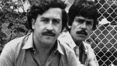 Bolivian drug king-pin Roca Suarez (right) pictured in the 1980s with Colombian drug lord Pablo Escobar.