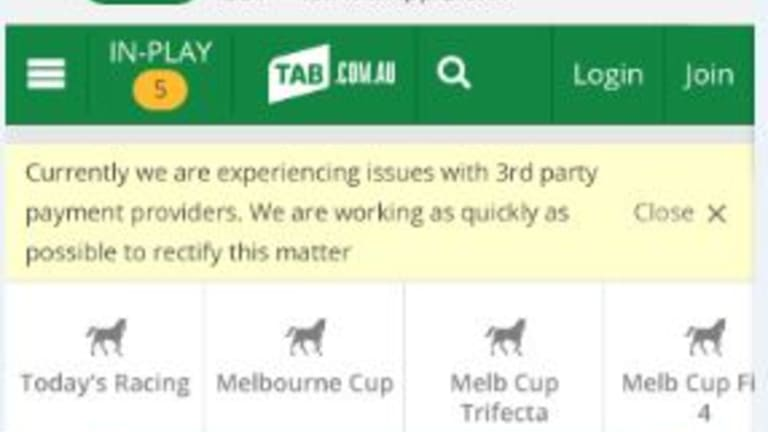 Tabcorp was also experiencing technical issues before the Melbourne Cup.
