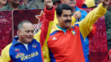 Diosdado Cabello, one of Venezuela's most powerful politicians, pictured with President Nicolas Maduro in Caracas in 2015.