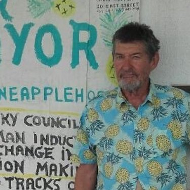 "Rockhampton mayoral candidate Chris ""Pineapple"" Hooper has a shop on East Street that is used as a community centre."