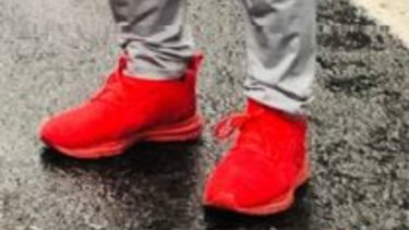The red shoes he was wearing at the time.