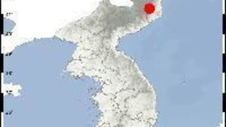 Punggye-ri (red mark), a North Korean nuclear test site in Kilju, North Hamkyong Province.