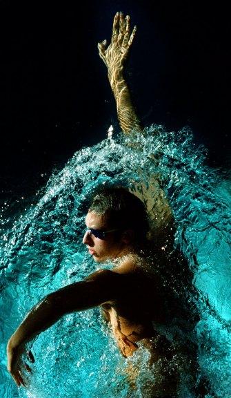 Ian Thorpe trains in the Olympic pool.
