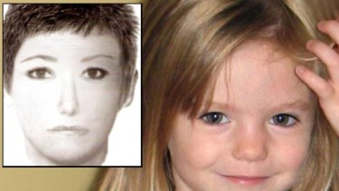 Missing toddler Madeleine McCann, inset an identikit of a woman who is the focus of a renewed global hunt.