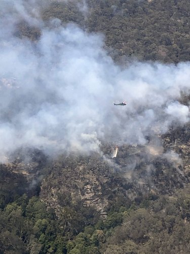 "A water-bombing helicopter releases its load in a bid to reduce the risk that the fire in the Wollemi National Park would affect the ""'dinosaur"" trees."