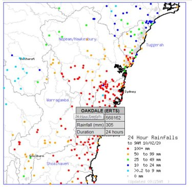 Areas in Sydney's catchment have reported big falls in recent days. Oakdale near Lake Burragorang/Warragamba collected more than 300 millimetres.