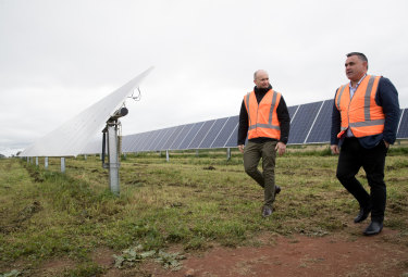 Energy Minister Matt Kean (left) with Deputy Premier and NSW National Party leader John Barilaro during a visit to a solar farm near Dubbo in June.