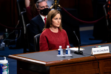Amy Coney Barrett, US President Donald Trump's nominee for the US Supreme Court, speaks during a Senate Judiciary Committee confirmation hearing.