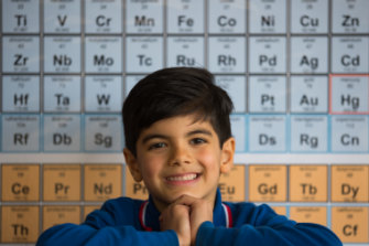 In his element: Maximus Dafopoulos memorised the Periodic Table from his Dad's Year 11 chemistry text.