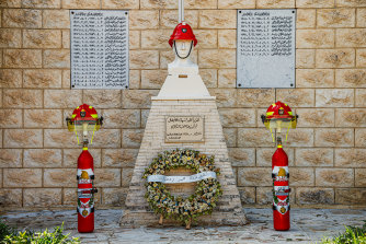 The monument of a fire brigade in honor of the victims of the explosion in the port of Beirut.