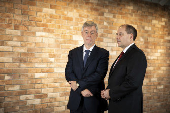 Westpac chairman Lindsay Maxsted and new CEO Peter King at in Sydney on December 3.