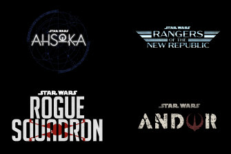 Title treatments for four new Star Wars projects: Star Wars: Ahsoka, Star Wars: Rangers of the New Republic, Star Wars: Rogue Squadron and Star Wars: Andor, unveiled at the 2020 Disney investor day in Los Angeles.