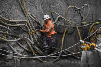 A worker at the construction site.