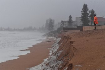 The Collaroy/Narrabeen region of Sydney's northern beaches has seen significant erosion from the weekend tempest, with a high tide on Monday morning adding a fresh challenge.