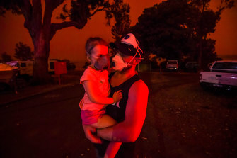 The sky turns blood-red  in Mallacoota last Saturday.