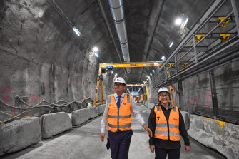 Victorian Premier Dan Andrews and minister Jacinta Allan at the construction site on Thursday.