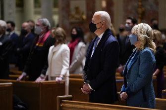 President-elect Joe Biden and his wife Jill Biden attend Mass early on Inauguration Day.