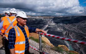Mining Minister John Barilaro at the Ravensworth coal mine, north of Singleton, during the Upper Hunter byelection.
