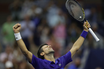 Novak Djokovic unleashes his trademark celebration at the US Open earlier this week.