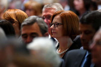 Former Prime Minister Julia Gillard was among the hundreds who turned out to John Cain's state memorial service.