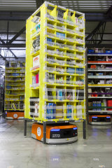 An example of Amazon's 'Kiva' robots, which move the items around the warehouses.