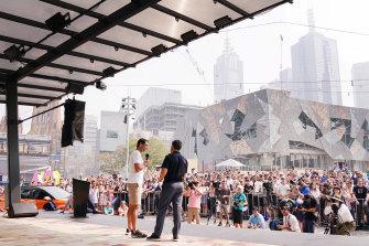 Rafael Nadal speaking at Federation Square this week.