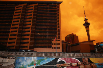 An orange glow darkened the skies over Auckland on Sunday.