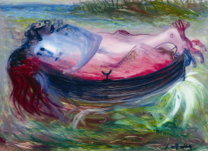 Detail of Arthur Boyd's 'Lovers in a boat at Hastings' c.1955, oil on perspex, Mornington Peninsula Regional Gallery