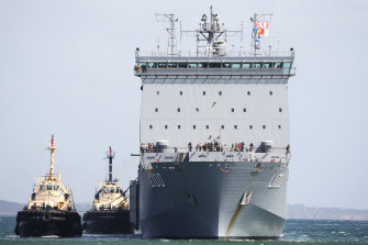 The HMAS Choules arriving at Hastings on Saturday with the first lot of evacuees.