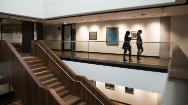 A gallery in the new F23 Administration Building at Sydney University.
