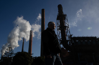 'It's going to be massive' if the steelworks were to close: Arthur Rorris, co-convener of Recharge Illawarra, at Bluescope's facilities at Port Kembla.