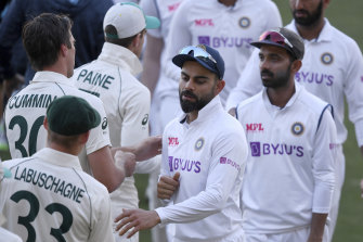 Virat Kohli, centre, and his teammates are coming to terms with an eight-wicket defeat inside three days.