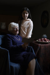Yvonne Bernstein, originally from Germany, who was a hidden child in France throughout most of the Holocaust, is pictured with her granddaughter Chloe Wright, aged 11.