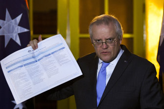 Prime Minister Scott Morrison speaks to the media following Friday's national cabinet meeting.