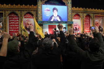 Supporters in Lebanon cheer during a pugilistic speech by Hezbollah leader Hassan Nasrallah.