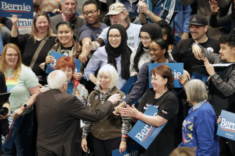 Sanders speaks to his supporters during a rally in St Louis.