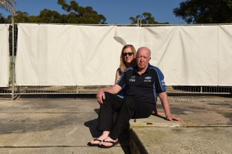 Kathy and Des Lindsell are yet to rebuild on the site where the granny flat once stood in the backyard of their Gymea home.