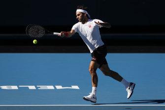 Roger Federer at Melbourne Park on Sunday.