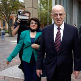 Former Labor minister Eddie Obeid arrives at the NSW Supreme Court, accompanied by his wife Judy, for his latest criminal trial.