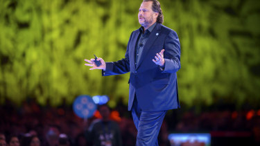 Salesforce chief executive and co-founder Marc Benioff during his keynote address at Dreamforce on Tuesday.