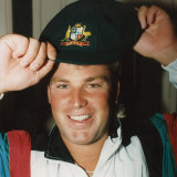 Shane Warne with his baggy green in 1992.