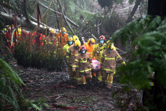 A woman is rescued from her house after a tree landed on it, causing significant damage in Olinda on Thursday.