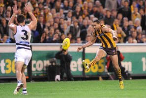 Shaun Burgoyne scores the game-winning goal against Geelong in the 2013 preliminary final.