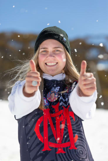 Melbourne fan Arabella Houghton is working at Mt Buller this weekend but will head back to town if her boys make the grand final.