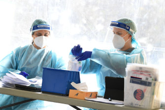Healthcare workers at a testing facility in Clyde, Melbourne, on September 18.