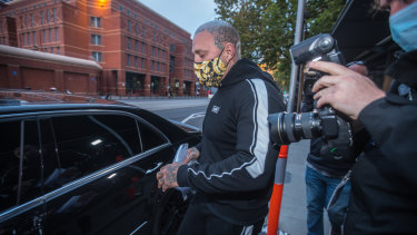 Toby Mitchell leaving a Melbourne police station after being granted bail.
