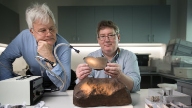 Dr Bill Burch, senior curator emeritus and Dermot Henry, head of sciences at Museums Victoria.