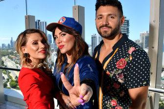 Eurovision aspirants Tania Doko, Ella Hooper and Alfie Arcuri.