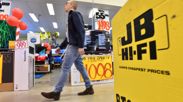 JB Hi-Fi is a popular choice for gift cards.